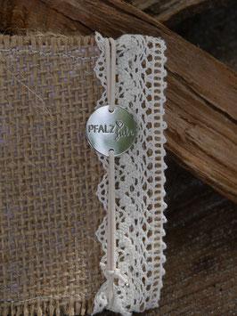 Pfalzliebe Armbändchen - Rund silber mit weißem Bändchen