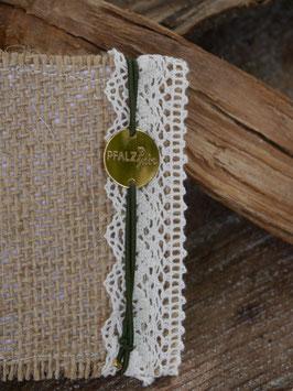 Pfalzliebe Armbändchen - Rund gold mit grünem Bändchen