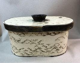 """kleiner ovaler Brottopf Brotdose """"pane"""" Brotkasten aus Keramik für Singles oder kleine Haushalte im Shabby Stil"""