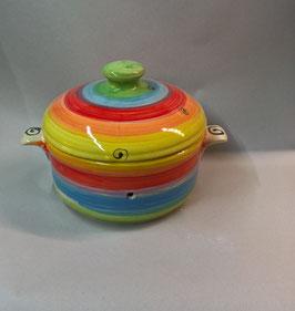 kleiner runder Brottopf Brotdose  aus Keramik für Singles oder kleine Haushalte im Design regenbogen