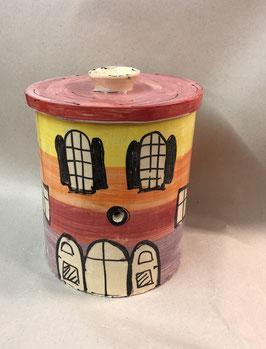 """runder hoher Brottopf Brotdose """"Herr KOK""""  aus Keramik  im Hausdesign"""