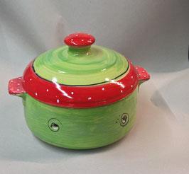 kleiner runder Brottopf Brotdose  aus Keramik für Singles oder kleine Haushalte im Design erdbeere