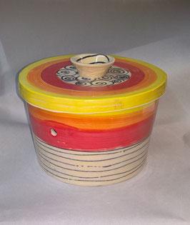 """runder Brottopf Brotdose """"Mora""""  aus Keramik  für den Haushalt im Design curly"""