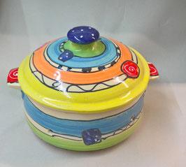 kleiner runder Brottopf Brotdose  aus Keramik für Singles oder kleine Haushalte im Design crazy