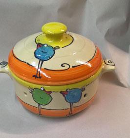 kleiner runder Brottopf Brotdose  aus Keramik für Singles oder kleine Haushalte im Design payaso