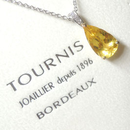Pendentif béryl jaune et diamants