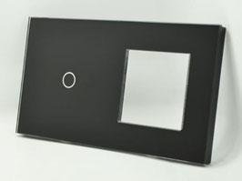 Glasplaat voor 1 schakelaar + frame voor bv stopcontact.  Leverbaar in Wit,  Zwart en Champagne.