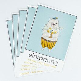 5er-Set Einladungskarten MLA Pepe mit Umschlägen