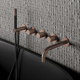 Design Unterputz Thermostat-Badewannenarmtur COBBER mit Auslauf u. Stabhandbrause