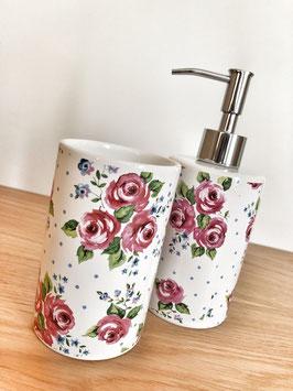 Porzellan Seifenspender mit Porzellan Becher, weiß mit floralem Dekor  - SALE %