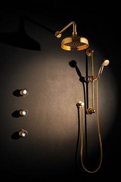 Unterputz Duschanlage mit großer 200mm Kopfbrause und separater Brausestange mit Handbrause und Brauseschlauch, THE SWAN
