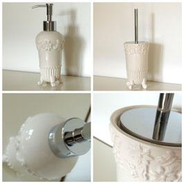 "Nostalgie Keramik-Seifenspender & WC-Bürste ""FLORA"" im Set"