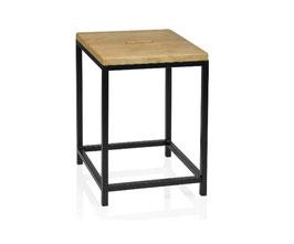 schwarzer Design-Badhocker, mit Echtholz Sitzfläche
