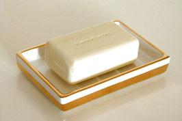 Seifenschale aus Porzellan mit Goldrand