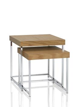2 tlg. Design Beistelltisch Set mit Eiche Tischplatte und Chrom Gestell