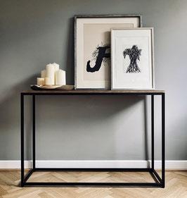 Stylischer Konsolentisch mit massiver Holzplatte, 122x35,5x83cm, schwarz-matt