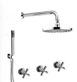 Unterputz Duscharmatur TAVUS mit 250 mm Kopfbrause und separater Handbrause