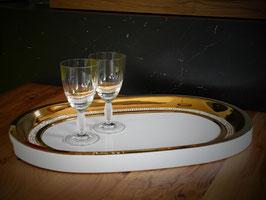 Großes Dekorationstablett / Tablett aus Porzellan mit Goldrand und Bleikristall-Strass