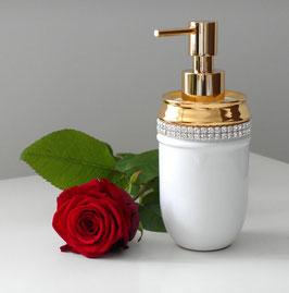 Porzellan Seifenspender mit Goldverzierungen undd Bleikristall