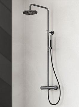 Design Aufputz Thermostat-Duschanlage COBBER, mit Stabhandbrause u. 200mm Kopfbrause
