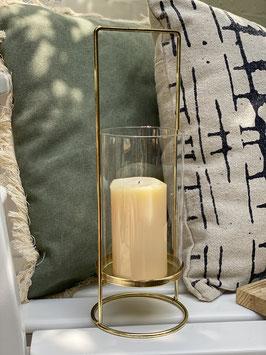 """Tisch Windlicht """"SANUR"""", Goldfarben, Metall mit Glas"""
