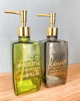 Seifenspenderset LOVE WORDS - I, Glas: grün/grau
