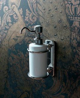 Nostalgie Wandseifenspender Porzellan/Metall Serie WINSTON, Chrom oder Silber-Nickel.