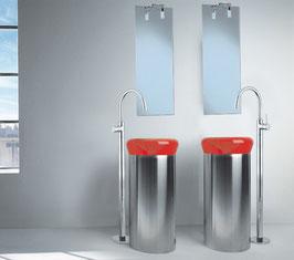 Freistehende Waschtischarmatur OXO II, runder Auslauf