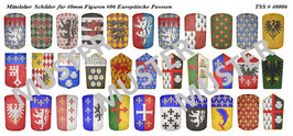 40mm Schildaufkleber Mittelalter #06 Europäische Ritter Pavesen