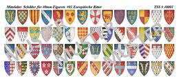 40mm Schildaufkleber Mittelalter #01 Europäische Ritter
