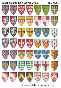 28mm Shield Sticker 100 Years War #01 British Knights