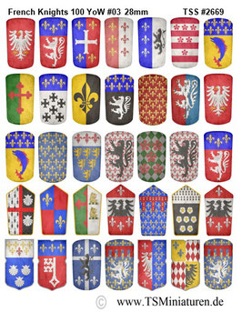28mm Shield Sticker 100 Years War #03 French Pavesen
