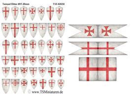 28mm Shield Sticker Crusader #01 Templar Knights