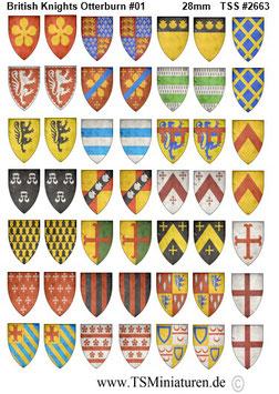 28mm Shield Sticker 100 Years War #02 British Knights Otterburn