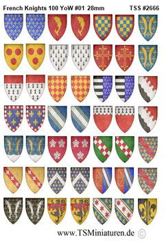 28mm Shield Sticker 100 Years War #01 French Knights
