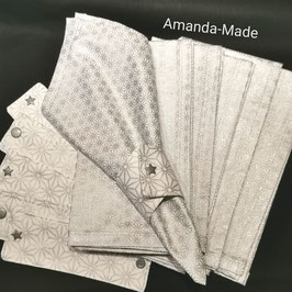 Ensemble  6 serviettes de table (50cm x 50cm) en tissus et ses 6 ronds de serviette assortis.