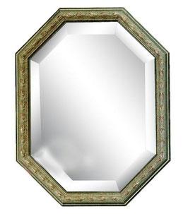 ウォールミラー おしゃれ 鏡 壁掛け 八角形 隅切り 木製 ミラー OT GR アンティーク イタリア製 ベルトーチ BERTOZZI 808223