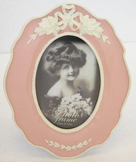 リボン フォトフレーム ピンク 写真立て 楕円 オーバル 1383073