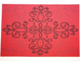 ランチョンマット 洗えるマット オシャレ カフェ マット プレースマット ダマスク柄 ダマスクローズ 長方形 レッド 赤 44401PM-RE