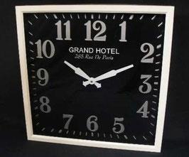掛時計 ホワイト 時計 壁掛け時計 巨大時計 四角 アンティーク 掛時計 オシャレ シャビーシック 角 スクエア ウォールクロック 75026WC