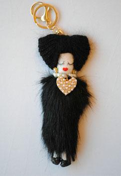 ドールチャームホルダー オシャレ ドールチャーム チャームホルダー 人形 ミンク ミンクファー ブラック アビ子 48413KH-BK