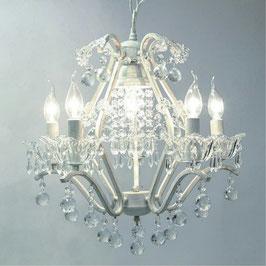 シャンデリアランプ おしゃれ ホワイト 6灯式 アイアン ガラスシェード 照明器具 カフェ ランプ クラシック エレガント ゴージャス 725039