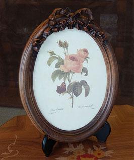 ルドゥーテ バラ額絵 リボン額縁 木製額 バラ ピンク 楕円 薔薇 イタリア製 デコールトスカーナ ITALY DekorToscana 937002