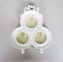 写真立て 丸 リボン おしゃれ 白い フォトフレーム クラシック 3窓 1383148 WH