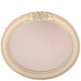 ミラー 壁掛け鏡 オシャレ バラ 薔薇 オーバル 鏡 ウォールミラー 白 ホワイト 864002
