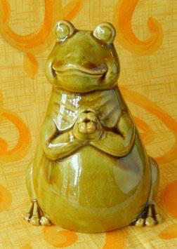 かえる カエル 置物 置き物 雑貨 インテリア 陶器のオブジェ みどり ミドリ フロッグ 01061-400G 大