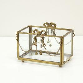 ガラスケース リボン ガラスボックス オシャレ ボックス 真鍮 小物入れ シャビーシック クラシック BOX 金 ゴールド 7347026