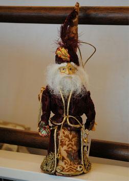 サンタクロース オーナメント ボルドー ドイツ人形 ゴージャス クリスマス オブジェ メガネ 35002SA