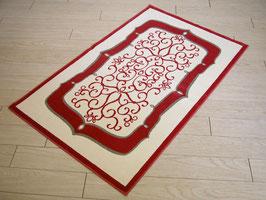 カーペット ラグ おしゃれ 洗える 長方形 綿 コットン フランス製 スタイルフランス 66×107 cm 玄関マット 綿100% ALICANTE rouge