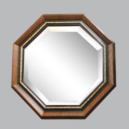 ウォールミラー おしゃれ 鏡 壁掛け 正八角形 木製 茶 ミラー OT アンティーク イタリア製 ベルトーチ BERTOZZI 808290